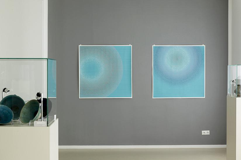 """""""Circles"""" Farbige Tusche auf Papier 5 Arbeiten, jweils 104,4 x 104,5 cm 2019"""